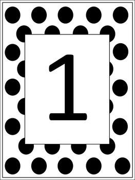 Polka Dot Table Numbers