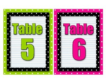 Polka Dot Table Numbers  - Set of 8