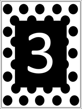 Polka Dot Table Numbers with Black Background