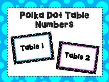 Polka Dot Table Number Posters