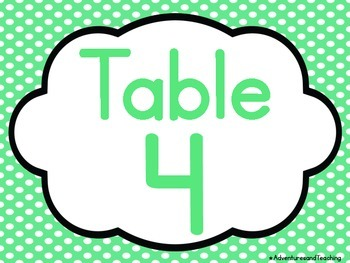 Polka Dot Table Signs Posters