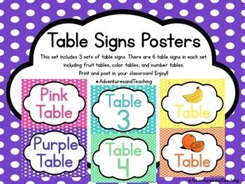Polka Dot Table Signs Posters
