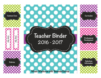 Polka Dot Teacher Binder 2016-2017 (Editable) UPDATED YEARLY!