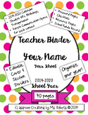 Polka Dot Teacher Binder 2019-2020: Calendar, Parent Commu