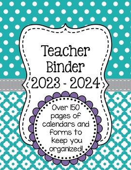 Polka Dot Teacher Binder Organization Bundle w/ Editable Binder Covers
