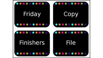 Polka Dot Teacher Weekday Draw Labels