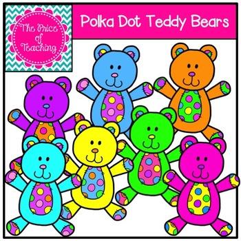 Polka Dot Teddy Bears Clipart Set