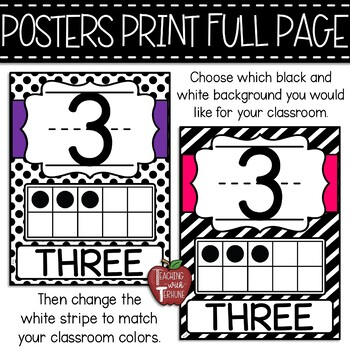 Polka Dot Ten Frame Posters (Numbers 0-20)