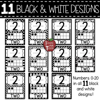 Ten Frame Number Posters 0-20 {Polka Dot and Red}