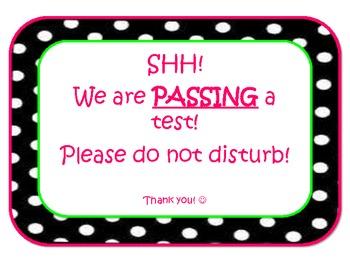Polka Dot Testing Sign