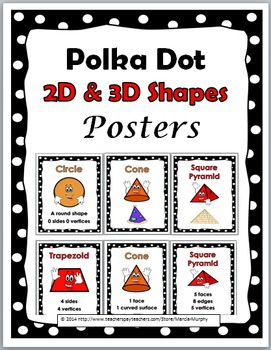 2D Shapes and 3D Shapes - Polka Dot Theme -Geometry Poster