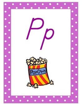 Polka Dot Theme Alphabet Posters, D'Nealian Font