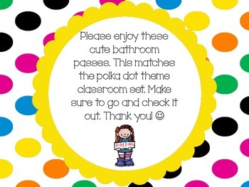 Polka Dot Theme Bathroom Passes