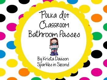Polka Dot Theme Bathroom Passes