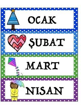 Polka Dot Theme Calendar Cards - Turkish Language