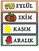 Polka Dot Theme Calendar Cards - Turkish Language