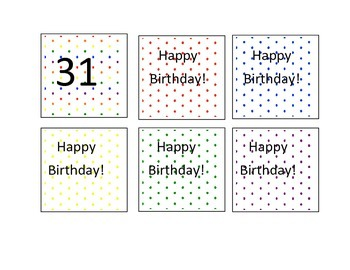 Polka Dot Theme Calendar Numbers
