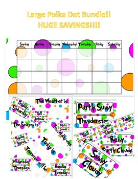 Polka Dot Theme Classroom LARGE Bundle with Dr. Seuss inspired font