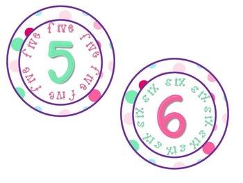 Classroom Numbers 1-10 Polka Dot Theme