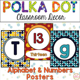 Classroom Decor- Polka Dot Alphabet Posters, Numbers 1-20 Posters