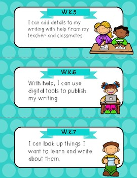 Polka Dot Theme Common Core ELA I Can Cards--Kindergarten