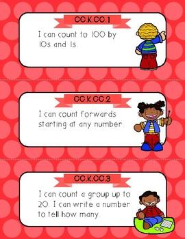 Polka Dot Theme Common Core Math I Can Cards--Kindergarten