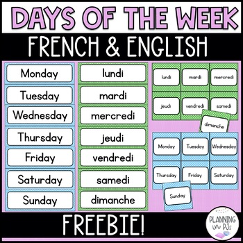 Polka Dot Theme: Days of the Week - Bilingual (French and English)