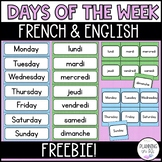 Days of the Week Calendar Cards French English Bilingual Polka Dot Theme FREE