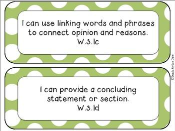 "Polka Dot Theme ELA ""I Can"" Statements *CCSS* 3rd Grade"