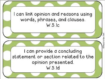 "Polka Dot Theme ELA ""I Can"" Statements *CCSS* 5th Grade"
