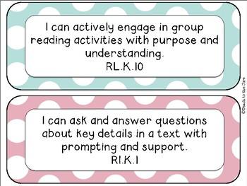 "Polka Dot Theme ELA ""I Can"" Statements *CCSS* Kindergarten"