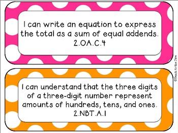 """Polka Dot Theme MATH """"I Can"""" Statements *CCSS* 2nd Grade"""