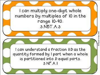 """Polka Dot Theme MATH """"I Can"""" Statements *CCSS* 3rd Grade"""