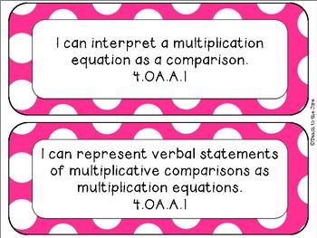 """Polka Dot Theme MATH """"I Can"""" Statements *CCSS* 4th Grade"""