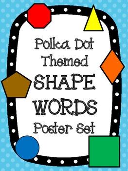 Polka Dot Theme Shape Words Poster Set