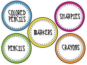 Polka Dot Theme Supply Labels