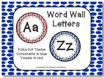 Polka Dot Theme - Word Wall Alphabet