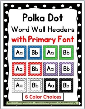 Polka Dot Classroom Decor Word Wall Headers