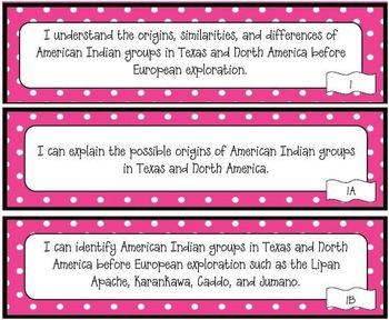 Polka Dot Themed 4th Grade Social Studies TEKS Statement Posters