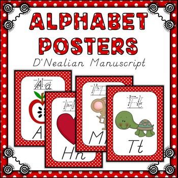 Polka Dot D'Nealian Alphabet Posters