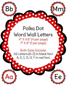Polka Dot Themed Alphabet - Word Wall Letters