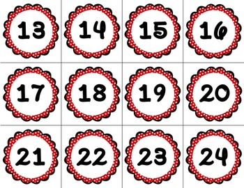 Polka Dot Themed Circle Numbers 1 - 120 (Perfect for Calendars)