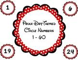 Polka Dot Themed Circle Numbers / Labels 1 - 60