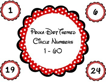 Polka Dot Themed Circle Numbers / Labels 1 - 60