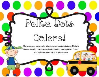 Polka Dot Themed Classroom Items