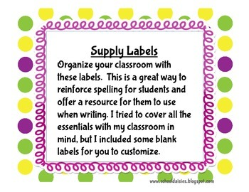 Polka Dot Themed Classroom Labels