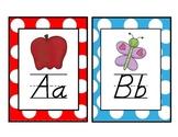 Polka Dot Themed D'Nealian Alphabet (2 to a Page)