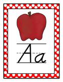 Polka Dot Themed D'Nealian Alphabet (Full Page)