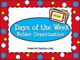 Polka Dot Themed Days of the Week File Folder Organization