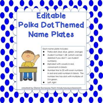 Name Plate -Polka Dot Themed- (editable)